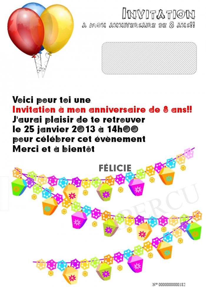 Invitation a mon anniversaire de 8 ans!!