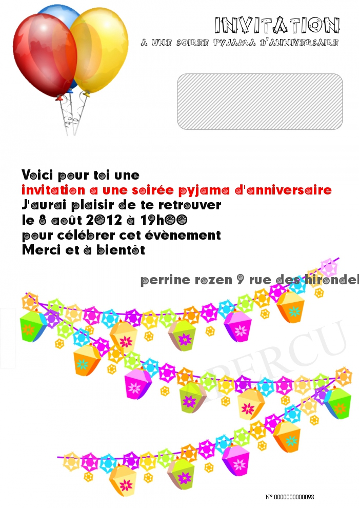 invitation a une soiree pyjama d anniversaire. Black Bedroom Furniture Sets. Home Design Ideas